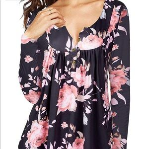 Womens Floral Tie-Dye Top (2XL)
